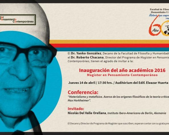 """Conferencia """"Materialismo y metafísica. Acerca de los orígenes filosóficos de la teoría crítica de MaxHorkheimer"""""""